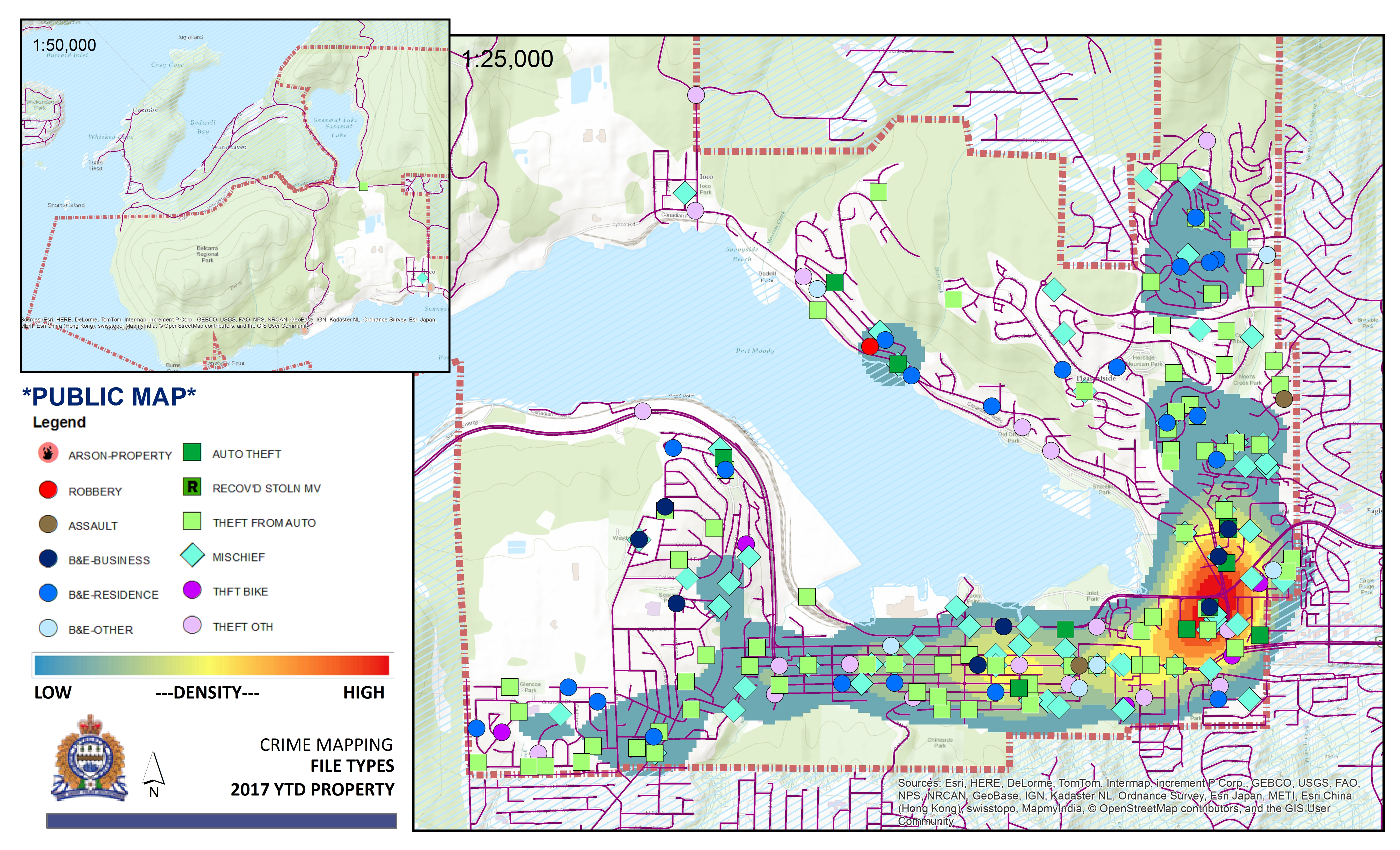 Port Moody Map January to June 2017 Crime Map   Port Moody Police Department